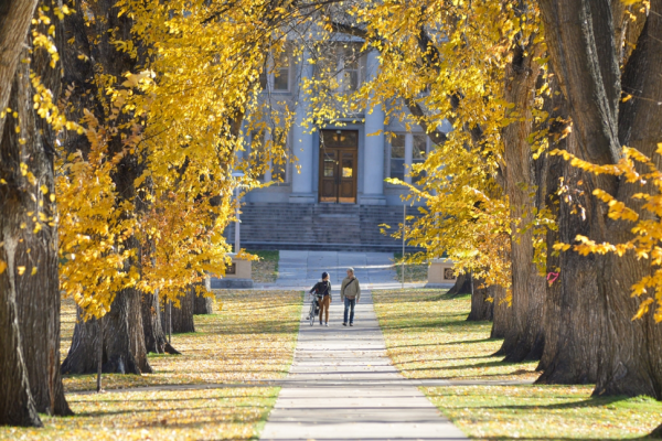 Two students walking down the Oval