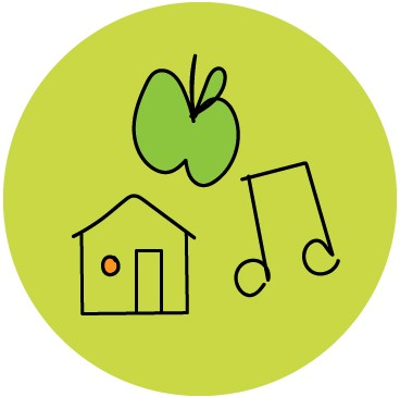 apple, house, and music note illustration