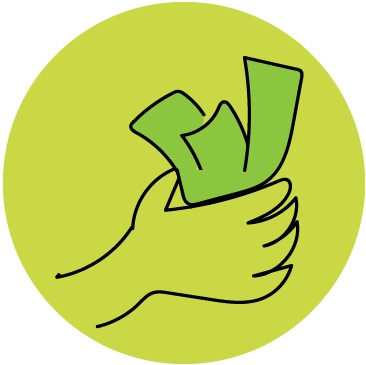 Illustration of Money in Hand